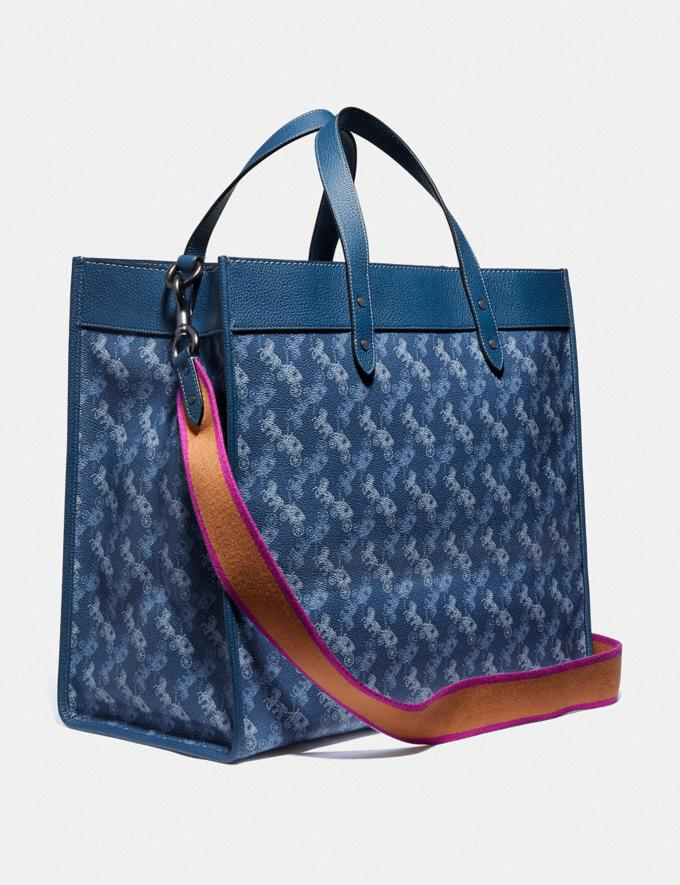 Coach Field Tote 40 With Horse and Carriage Print and Varsity Stripe Pewter/True Blue Women Bags Totes Alternate View 1