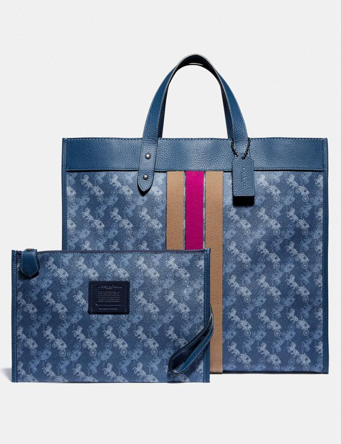 Coach Field Tote 40 With Horse and Carriage Print and Varsity Stripe Pewter/True Blue Women Bags Totes Alternate View 4