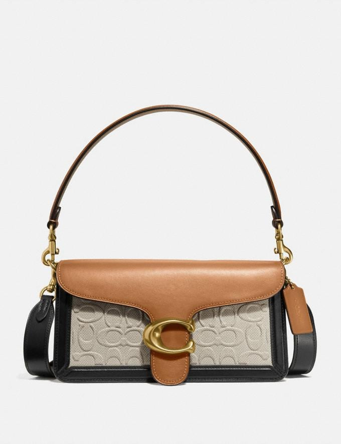 Coach Tabby Shoulder Bag 26 in Blocked Signature Canvas Brass/Canvas Light Saddle Women Handbags