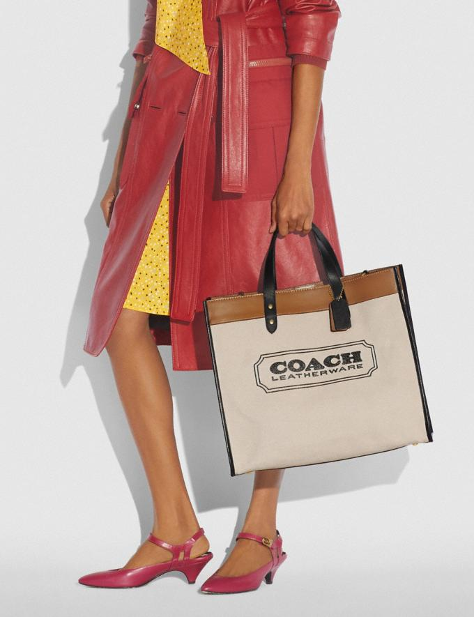 Coach Field Tote 40 With Coach Badge B4/Canvas Light Saddle Women Bags Totes Alternate View 3