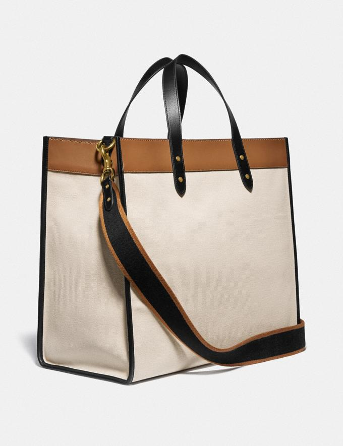 Coach Field Tote 40 With Coach Badge B4/Canvas Light Saddle Women Bags Totes Alternate View 1