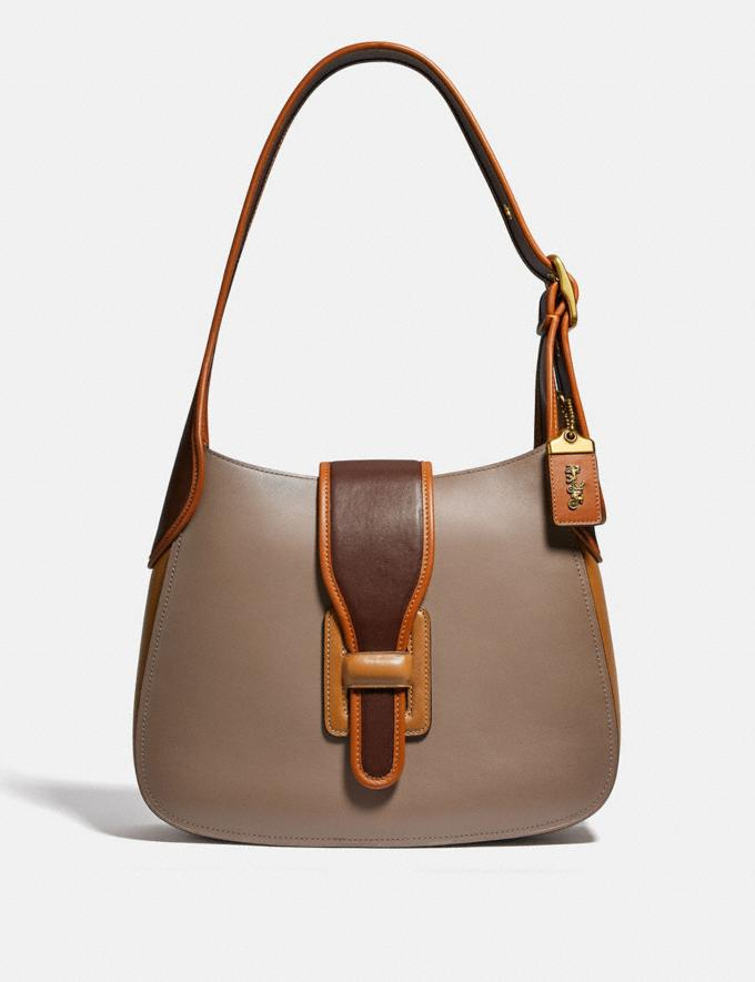 Coach Courier Hobo in Colorblock Brass/Light Saddle Elm Women Bags Shoulder Bags