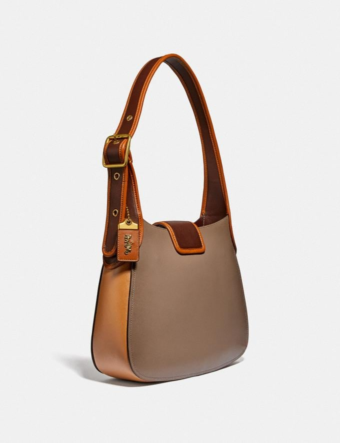 Coach Courier Hobo in Colorblock Brass/Light Saddle Elm Women Bags Shoulder Bags Alternate View 1