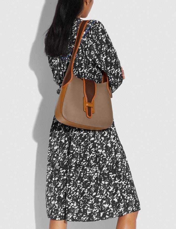 Coach Courier Hobo in Colorblock Brass/Light Saddle Elm Women Bags Shoulder Bags Alternate View 3