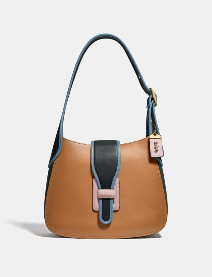 Coach Courier Hobo in Colorblock Brass/Light Saddle/Pine Green
