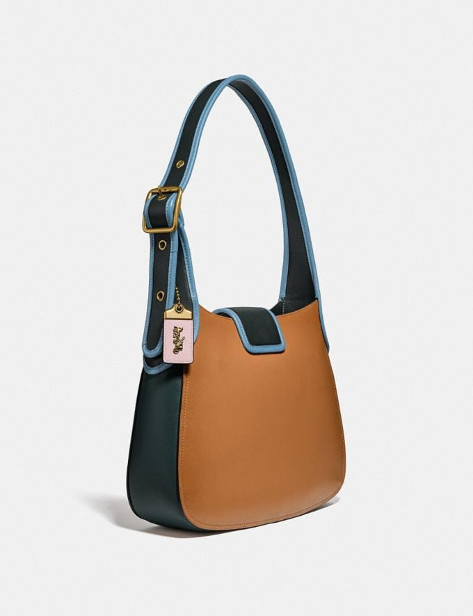 Coach Courier Hobo in Colorblock Brass/Light Saddle/Pine Green  Alternate View 1