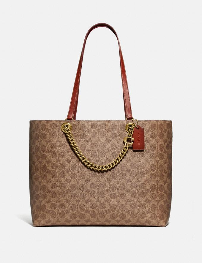 Coach Signature Chain Convertible Tote in Signature Canvas Brass/Tan Rust Gifts For Her Under $500