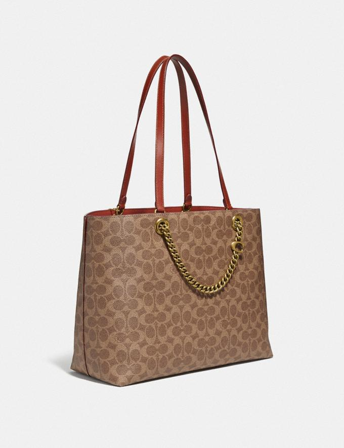 Coach Signature Chain Convertible Tote in Signature Canvas Brass/Tan Rust Gifts For Her Under $500 Alternate View 1