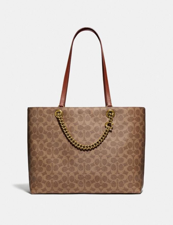 Coach Signature Chain Convertible Tote in Signature Canvas Brass/Tan Rust Gifts For Her Under $500 Alternate View 2