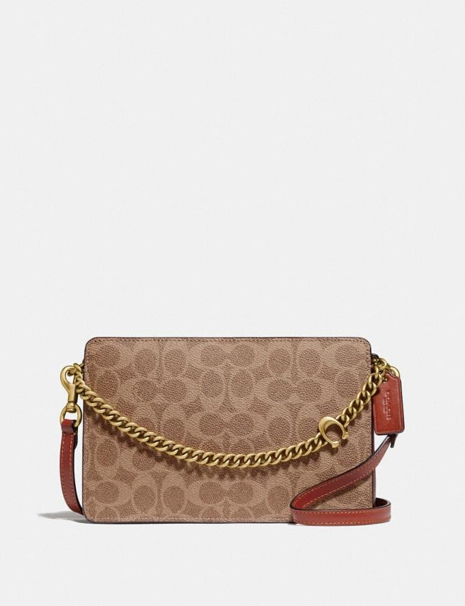 Coach Signature Chain Crossbody in Signature Canvas Brass/Tan Rust Women Handbags Crossbody Bags