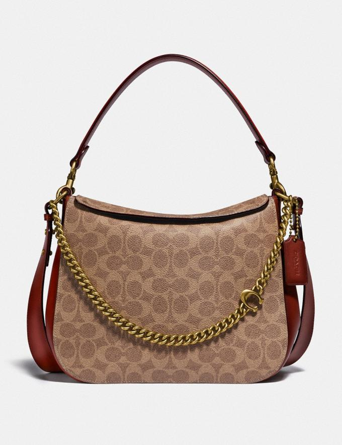 Coach Signature Chain Hobo in Signature Canvas B4/Tan Rust Women Bags Shoulder Bags