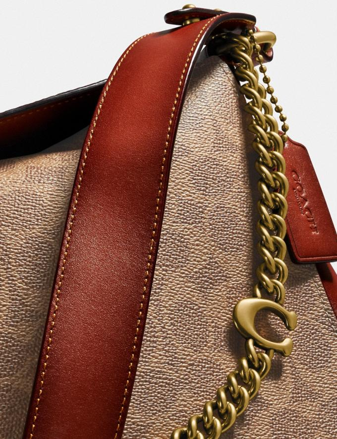 Coach Signature Chain Hobo in Signature Canvas Brass/Tan Rust Gifts For Her Under $500 Alternate View 3