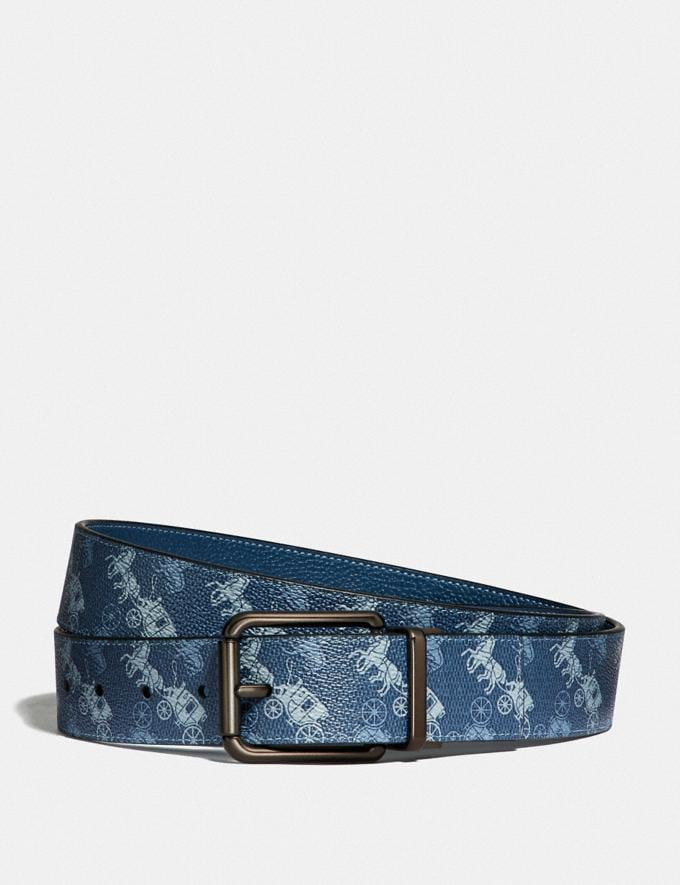 Coach Roller Buckle Cut-To-Size Reversible Belt With Horse and Carriage Print, 38mm Blue Gifts For Him