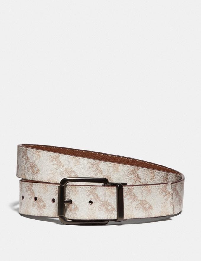 Coach Roller Buckle Cut-To-Size Reversible Belt With Horse and Carriage Print, 38mm Chalk