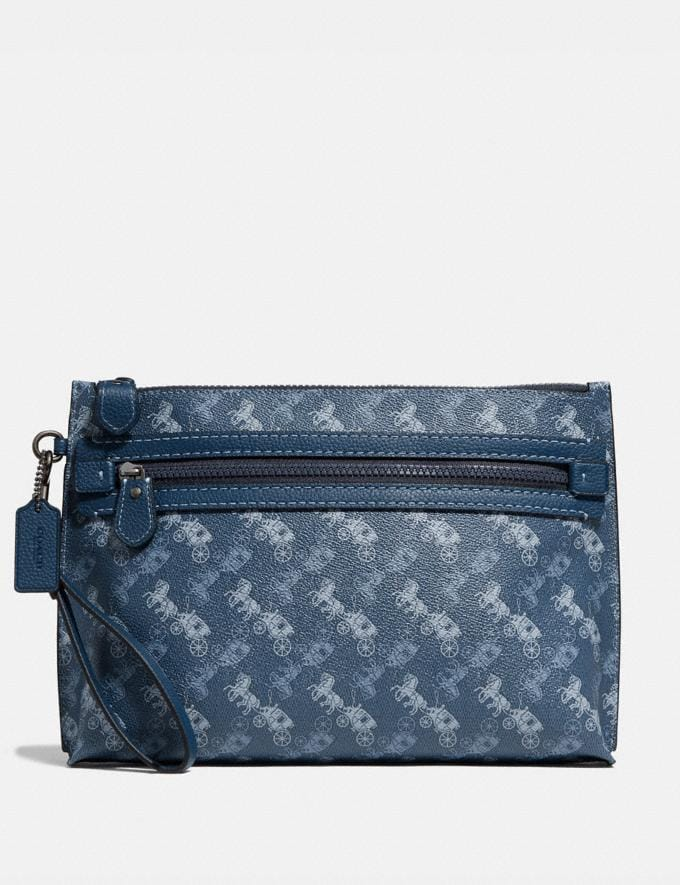Coach Academy Pouch With Horse and Carriage Print Blue Men Bags