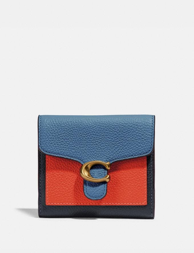Coach Tabby Small Wallet in Colorblock Brass/Lake Multi Gifts For Her Under $300