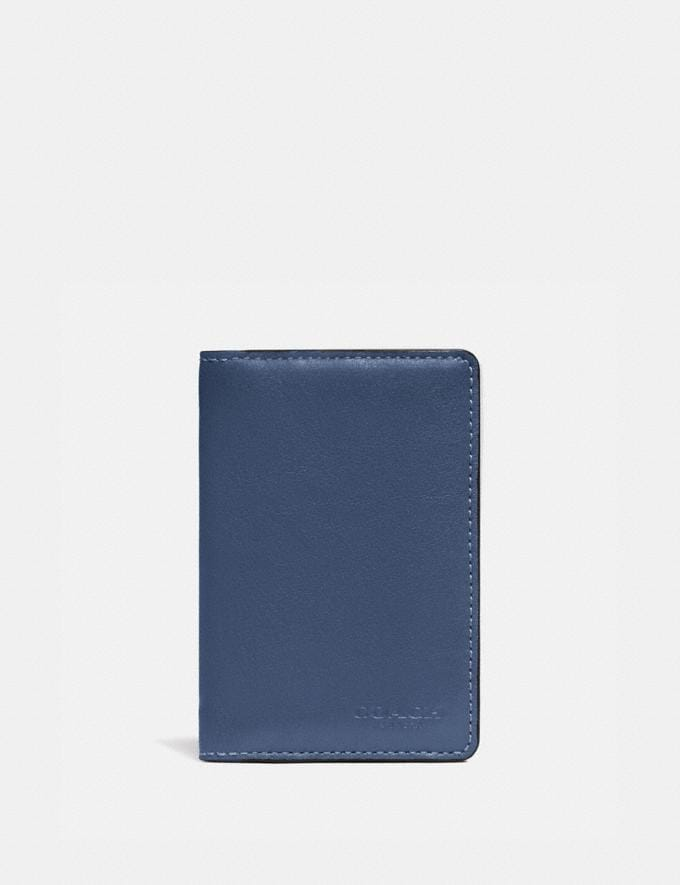 Coach Card Wallet in Colorblock With Signature Canvas Detail Charcoal/Deep Sky Men Wallets Card Cases