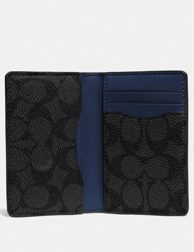 Coach Card Wallet in Colorblock With Signature Canvas Detail Charcoal/Deep Sky Men Wallets Card Cases Alternate View 1