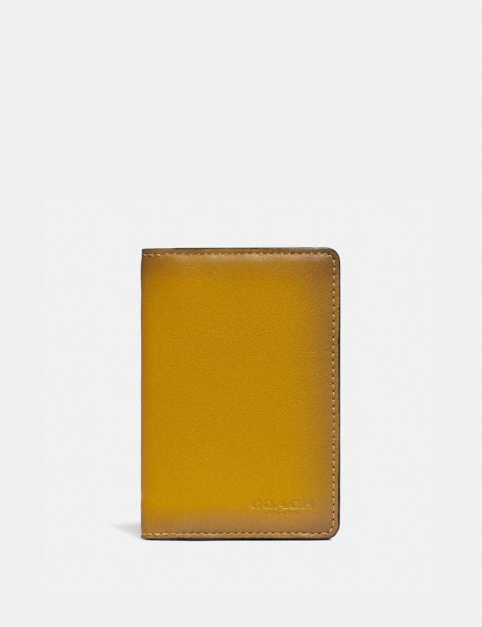 Coach Card Wallet in Colorblock With Signature Canvas Detail Khaki/Flax Men Wallets Card Cases