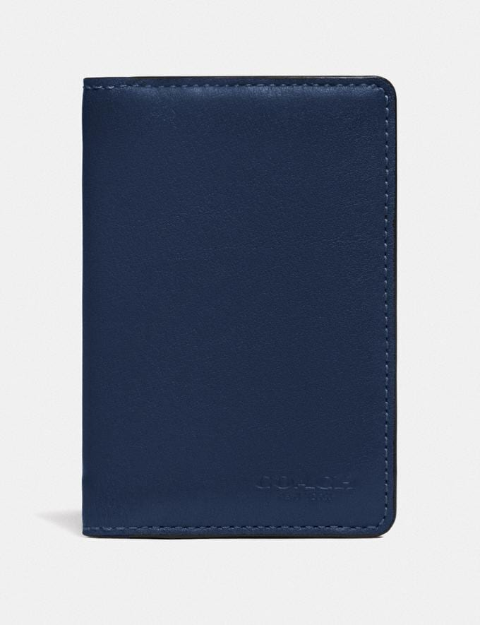 Coach Card Wallet in Colorblock With Signature Canvas Detail True Navy Multi Men Wallets Card Cases