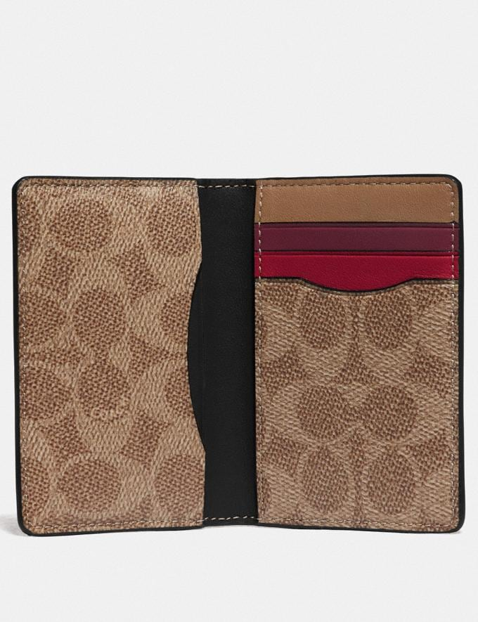 Coach Card Wallet in Colorblock With Signature Canvas Detail True Navy Multi Gifts For Him Under $300 Alternate View 1