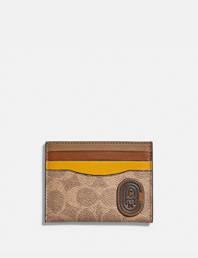 Coach Card Case in Colorblock Signature Canvas With Coach Patch Charcoal/Deep Sky Men Wallets Card Cases