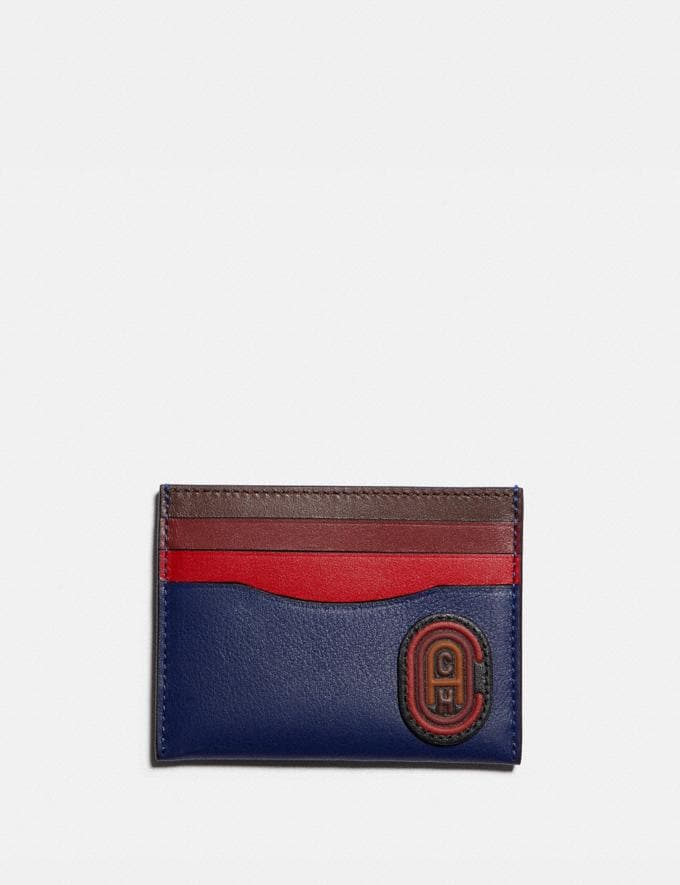 Coach Card Case in Colorblock With Coach Patch True Navy Multi PRIVATE SALE Men's Sale Wallets