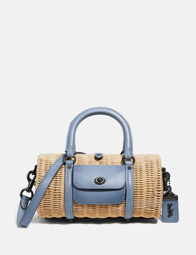 Coach Barrel Bag Pewter/Bluebell Gifts For Her Under $500