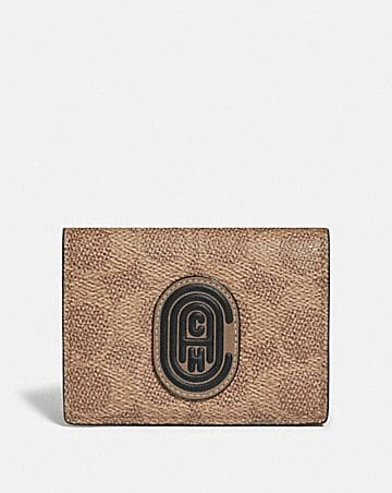 origami coin wallet in colorblock signature canvas with coach patch