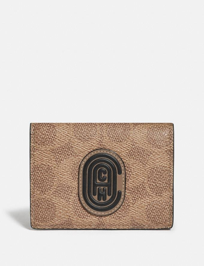 Coach Origami Coin Wallet in Colorblock Signature Canvas With Coach Patch Khaki/Flax Men Wallets Coin Cases