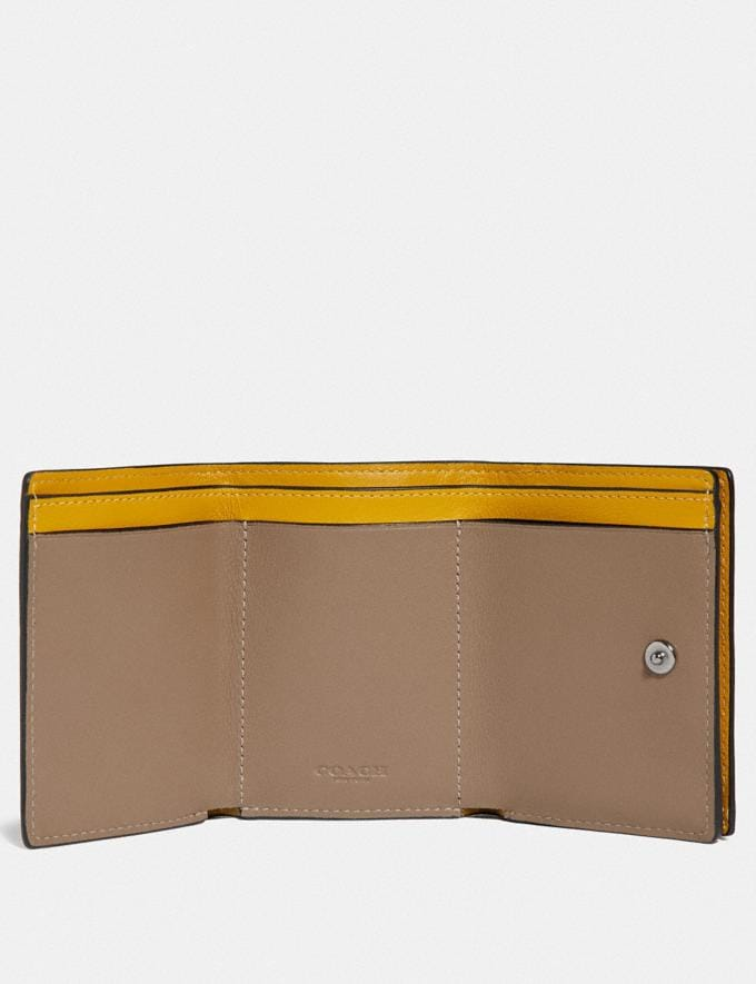 Coach Origami Coin Wallet in Colorblock Signature Canvas With Coach Patch Khaki/Flax Men Wallets Coin Cases Alternate View 1