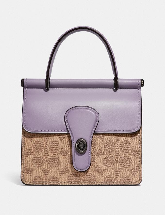 Coach Willis Top Handle 18 in Signature Canvas Pewter/Tan Soft Lilac SUMMER SALE Sale Edits New to Sale New to Sale