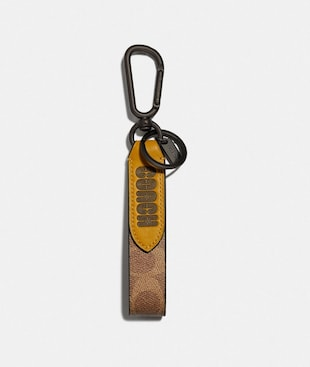 LOOP KEY FOB IN COLORBLOCK SIGNATURE CANVAS WITH COACH PRINT