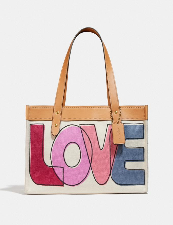 Coach Tote 33 With Love Print Brass/Pink Multi Women Bags Totes