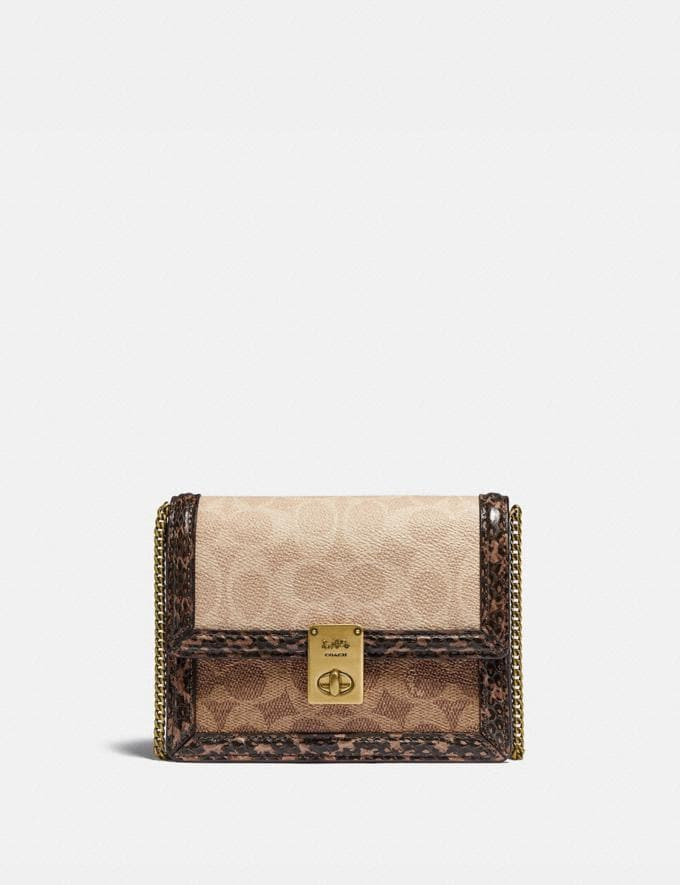 Coach Hutton Belt Bag in Blocked Signature Canvas With Snakeskin Detail Brass/Tan Sand Gifts For Her Under $500