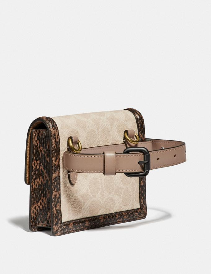 Coach Hutton Belt Bag in Blocked Signature Canvas With Snakeskin Detail Brass/Tan Sand Gifts For Her Under $500 Alternate View 1