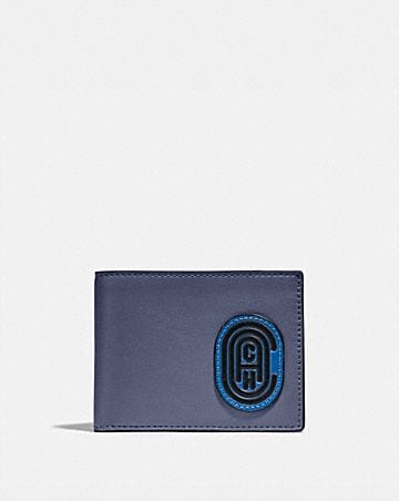 slim billfold wallet in colorblock with coach patch