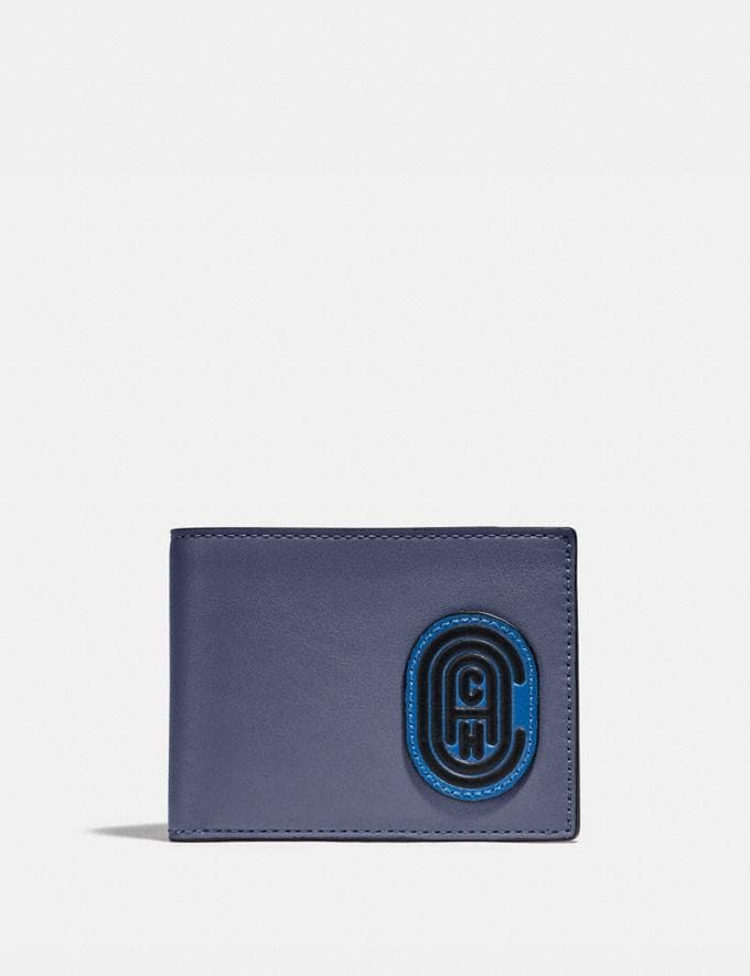 Coach Slim Billfold Wallet in Colorblock With Coach Patch Deep Sky/Blue Mist Gifts For Him