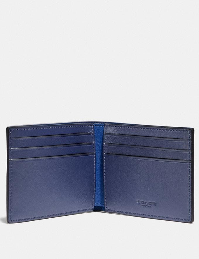 Coach Slim Billfold Wallet in Colorblock With Coach Patch Deep Sky/Blue Mist Gifts For Him Alternate View 1