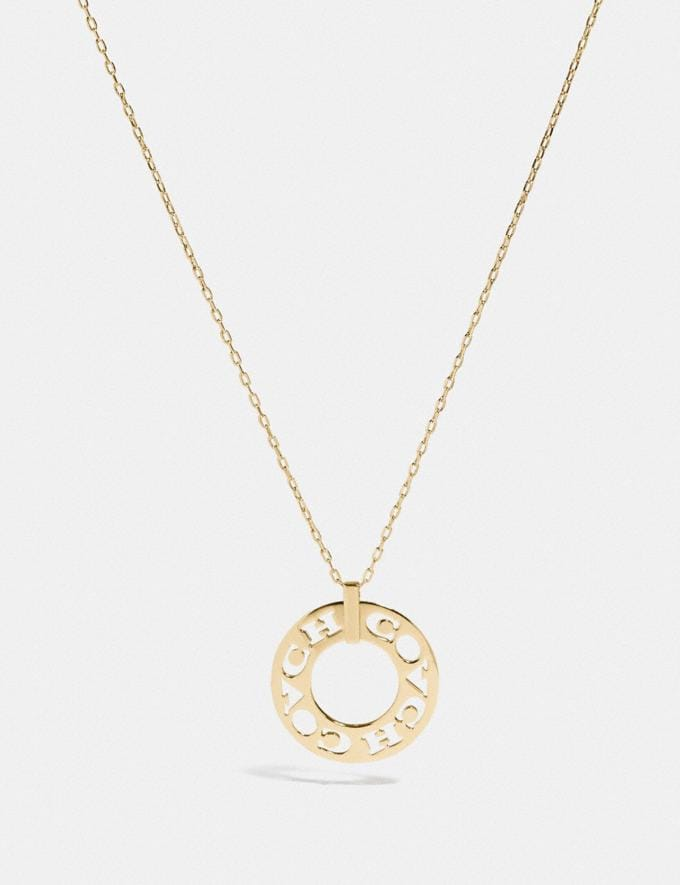 Coach Pierced Coach Pendant Necklace Gold Women Accessories Jewellery Necklaces
