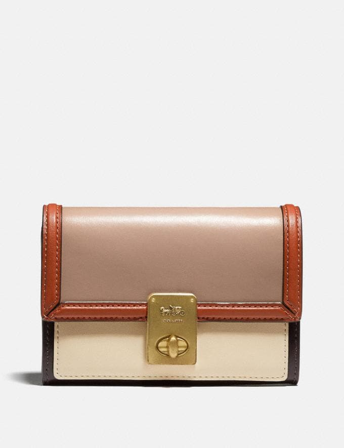Coach Hutton Wallet in Colorblock Brass/Taupe Ginger Multi Women Collection Hutton