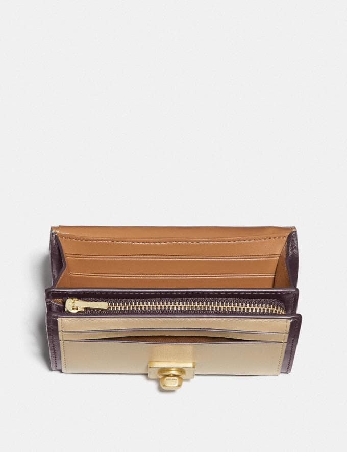 Coach Hutton Wallet in Colorblock Brass/Taupe Ginger Multi New Women's New Arrivals Alternate View 2