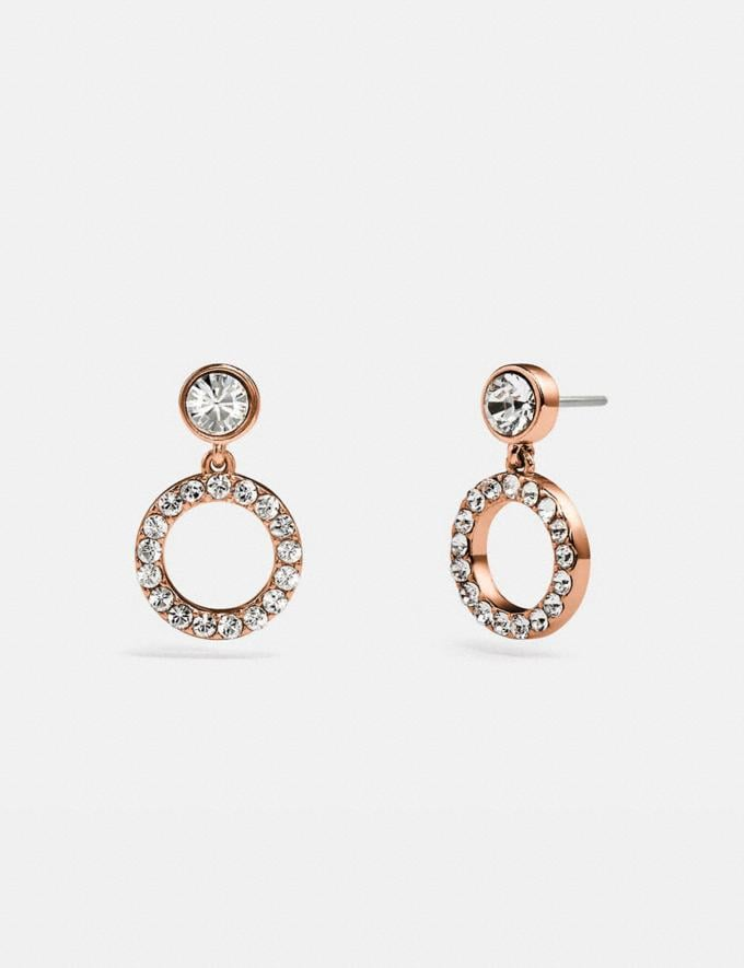 Coach Halo Pave Drop Stud Earrings Rose Gold/Clear null