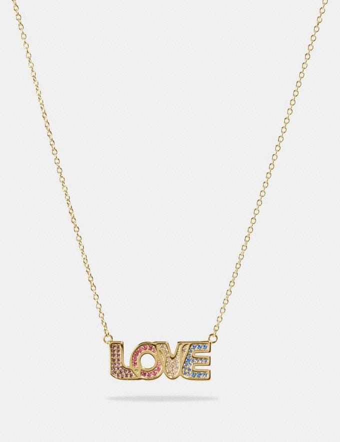 Coach Boxed Love Necklace Gold/Multi DEFAULT_CATEGORY