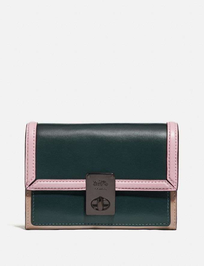 Coach Hutton Wallet in Colorblock Pewter/Pine Green Aurora Multi New Women's New Arrivals Wallets & Wristlets