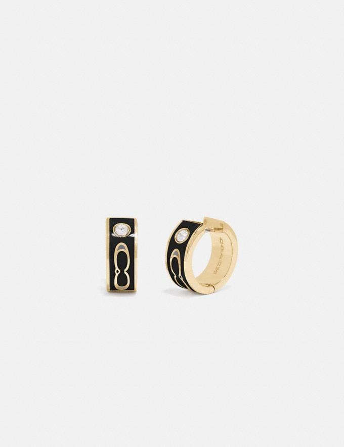 Coach Kissing Signature Huggie Earrings Gold/Black Women Accessories Jewelry & Watches
