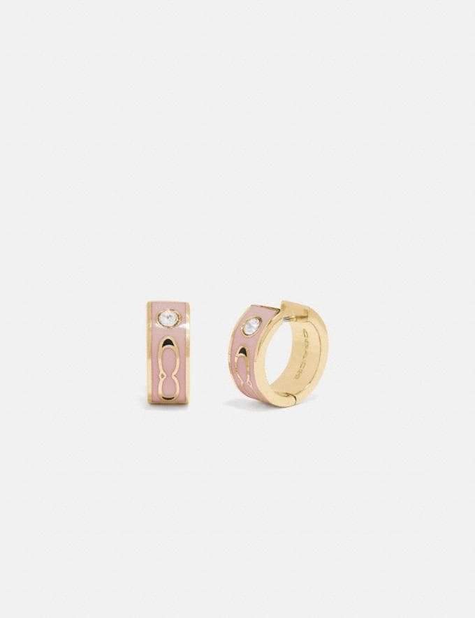 Coach Kissing Signature Huggie Earrings Gold/Dusty Rose Gifts For Her Under $100
