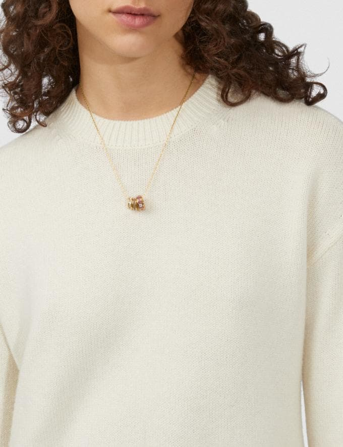 Coach Signature Trio Necklace Gold/Dusty Rose Women Accessories Jewelry & Watches Alternate View 1