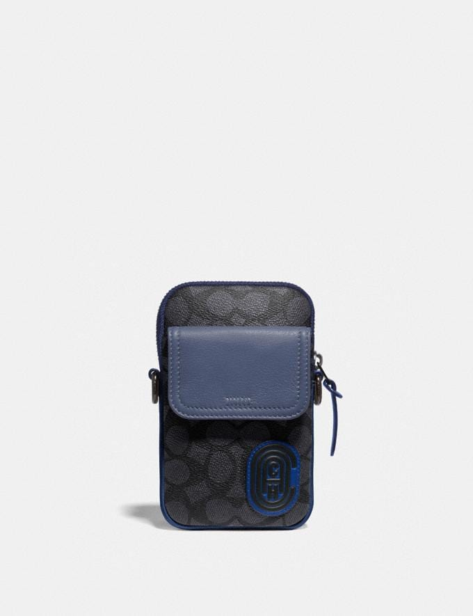 Coach Pacer Convertible Pouch in Colorblock Signature Canvas With Coach Patch Charcoal/Deep Sky Gifts For Him
