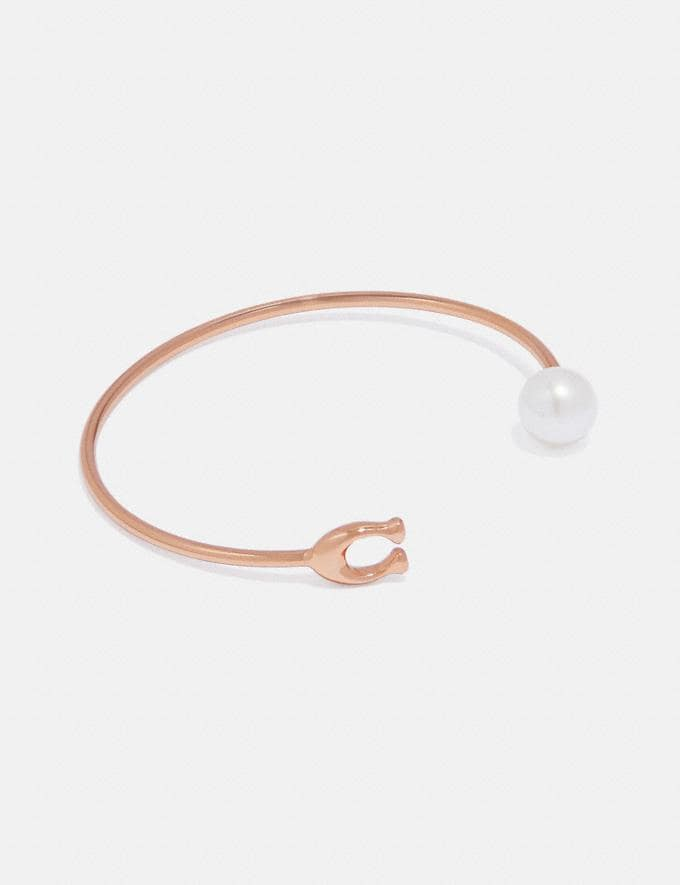 Coach Sculpted Signature Pearl Bangle Rose Gold New Women's New Arrivals